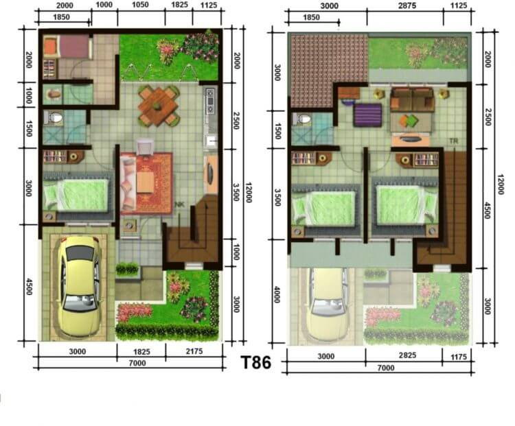 desain rumah 2 laintai tipe 36